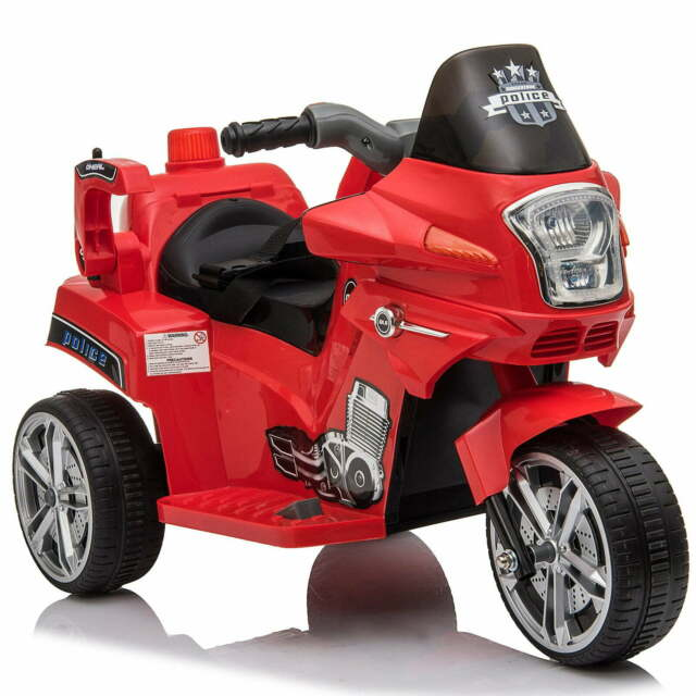 Moto Elettrica Polizia Per Bambini 6v Benzoni Police Rossa