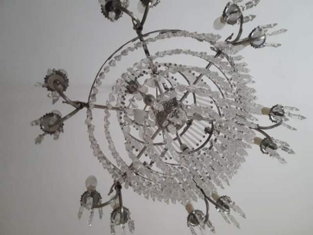Lampadario a 18 luci in vetro a gocce