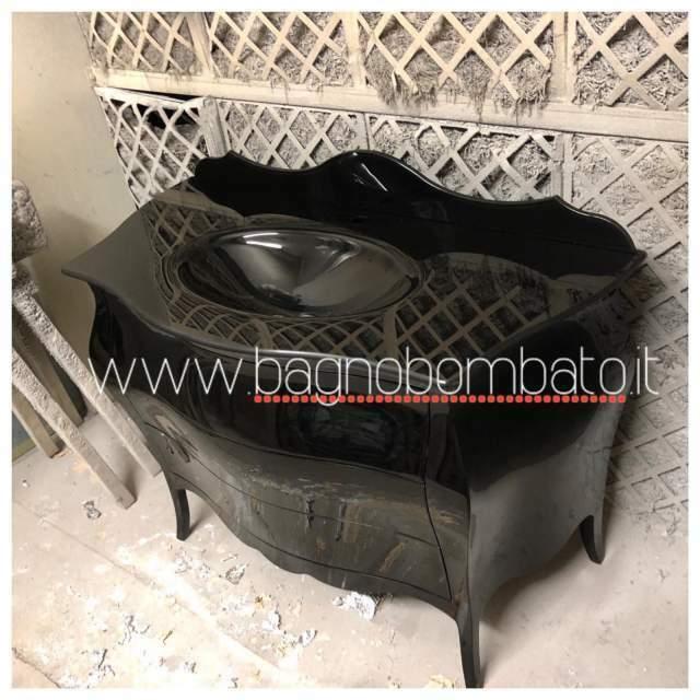 Mobile bagno bombato massello nero lucido