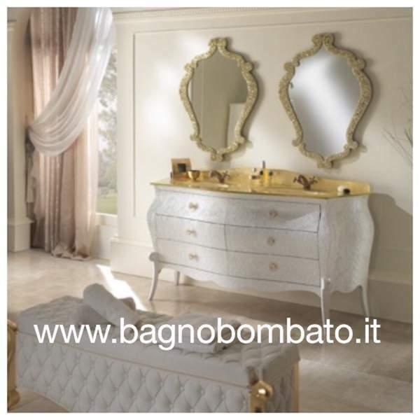 Mobile bagno stile barocco bassorilievi doppio lavabo top
