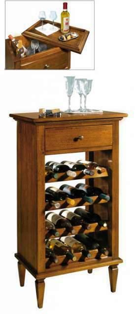 Porta Bottiglie in Legno Stile Arte Povera cod