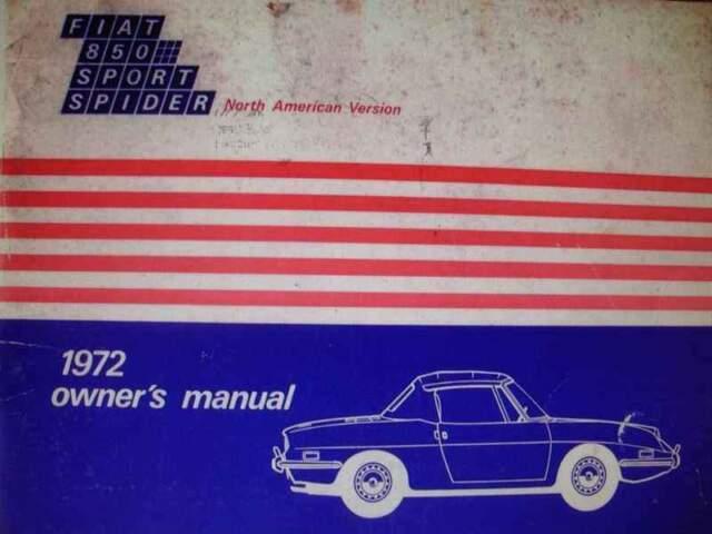 Fiat 850 Sport Spider, versione americane, libretto uso e