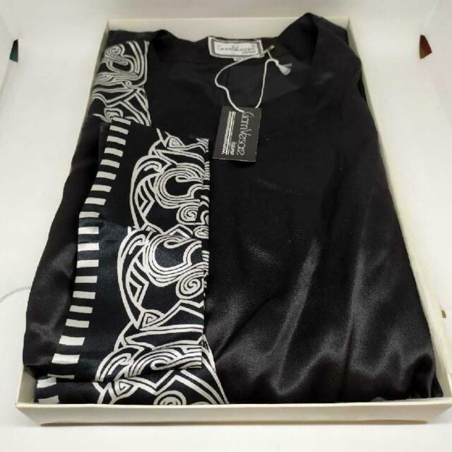 Vestaglia donna gianni versace seta nero raso greche bianco