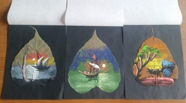 5 dipinti su foglia di pipal