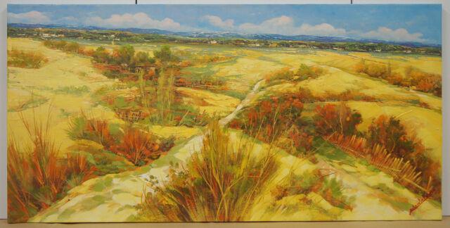 La campagna - dipinto Olio su tela cm. 100 x 50