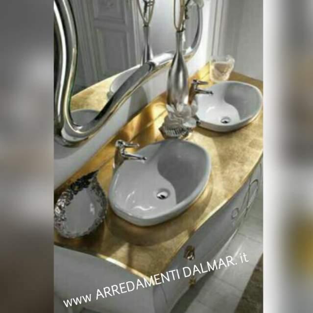 Mobile bagno doppio lavabo massello top cristal oro