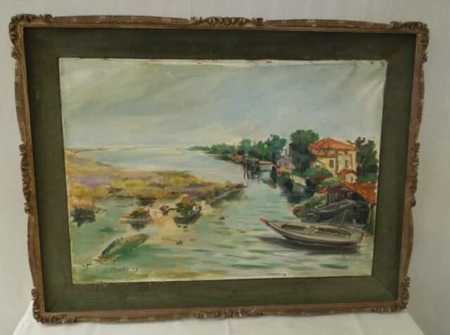 Olio su tela di M. Rivetta '75. Paesaggio sul mare