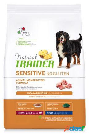Trainer natural sensitive adult medio maxi maiale kg 12