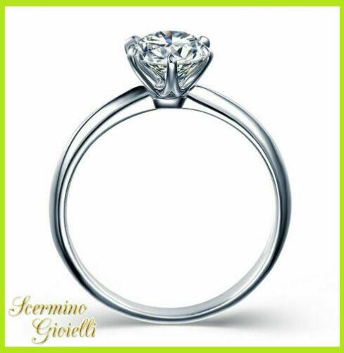 Anello Solitario Oro Bianco: Diamante Naturale 0.70 KT Cert.