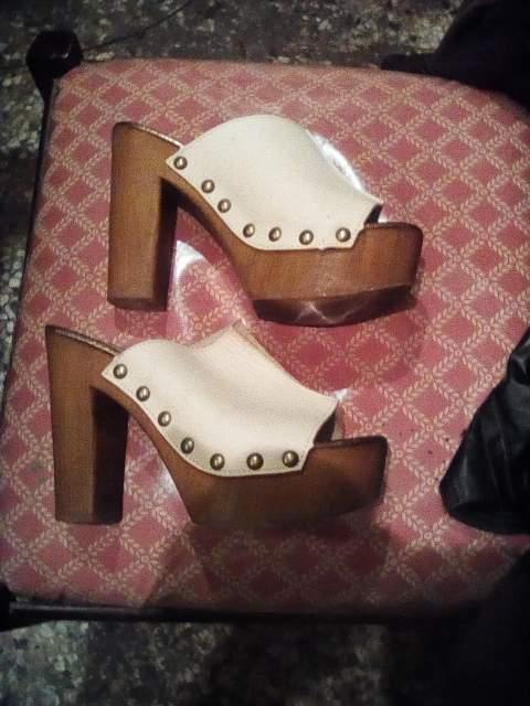 Scarpe zoccolo 38 in vera pelle e legno made in italy