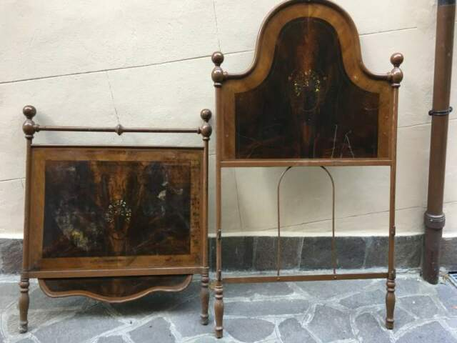 Antico letto in ferro e legno