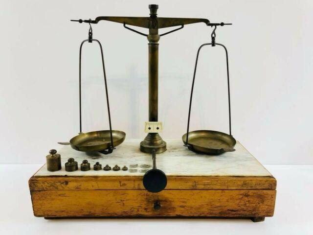 Bilancia Antica di Precisione in Legno e Marmo Completa di