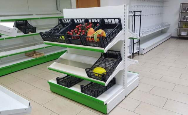 Scaffale gondola in ferro, da 120 per frutta e verdura
