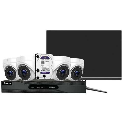 Kit 4k ultra hd cctv 4 telecamere dome lente fissa 4k