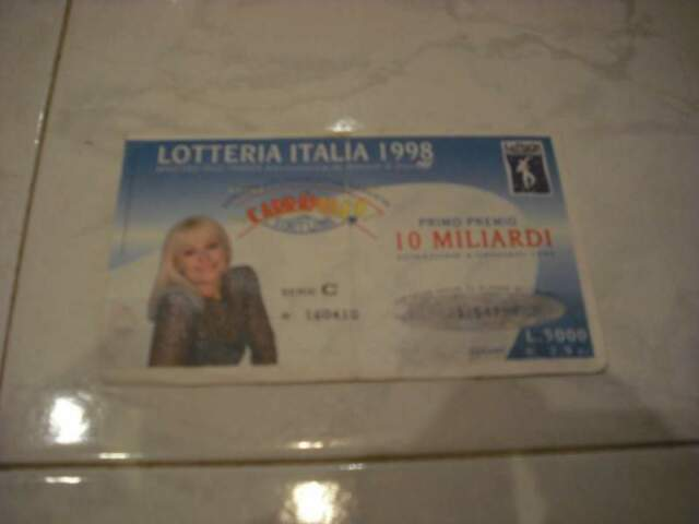 Raffaella carra' biglietto lotteria italia  originale