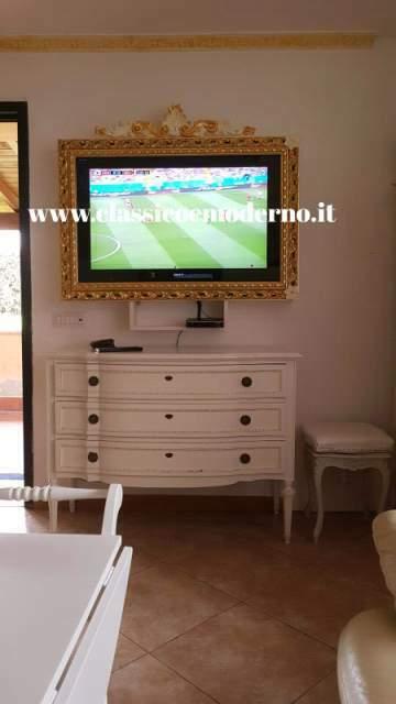 Porta Tv Foglia Oro.Cornice Bianca Porta Tv Foglia Oro Posot Class