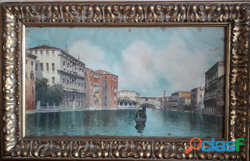 Acquerello d'epoca Venezia veduta Canal Grande