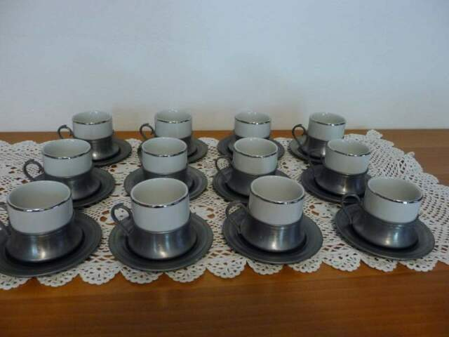 Servizio caffe 12 persone in ceramica e peltro