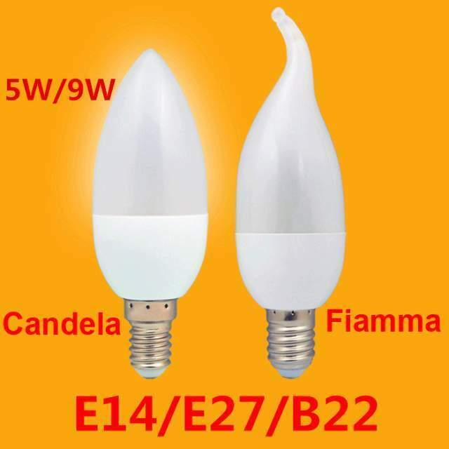 Stock 10 Lampadine LED Candela - Fiamma E14/E27/B22 5W - 9W