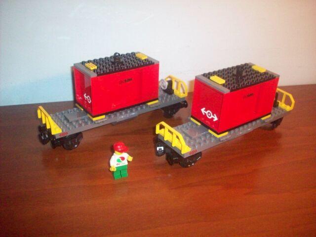 Lego moc treno merci 2 vagoni con container