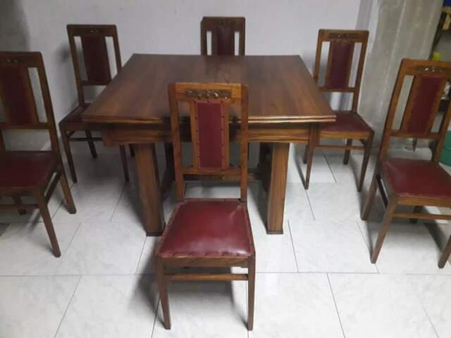 Tavolo allungabile in Quercia con 6 Sedie Antiche