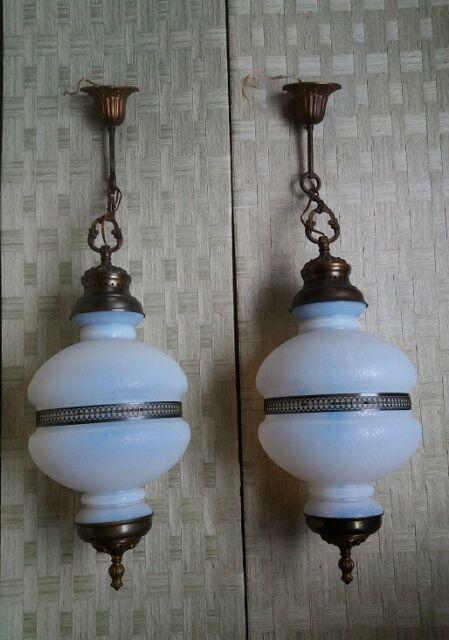 Lampadari vintage a sospensione in bronzo con vetro opale