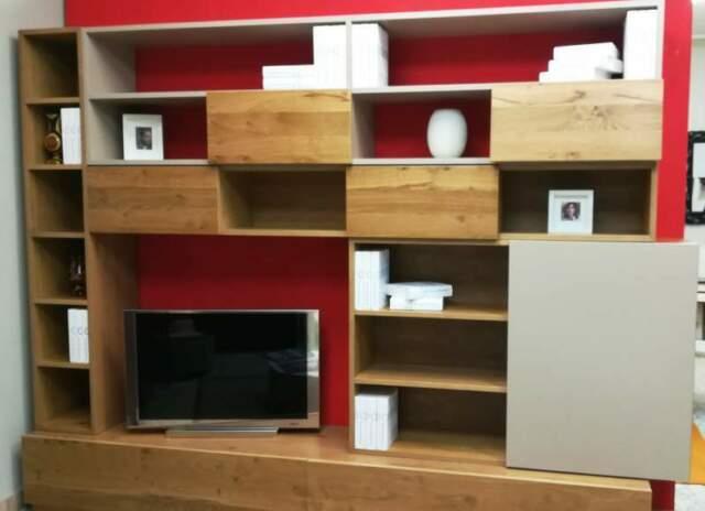 Libreria parete soggiorno in legno massello