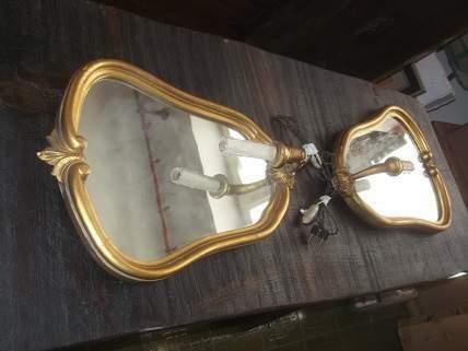 Coppia antica specchiera con lampada
