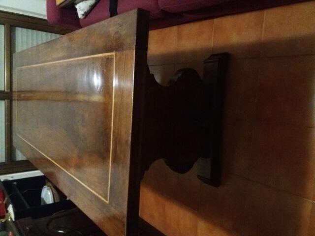 Tavolo scrivania in noce intarsiato cm 175 x cm 75 x cm 77