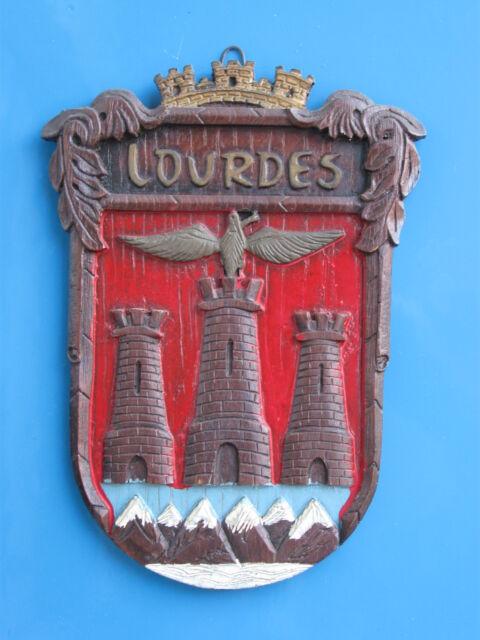 Quadretto araldico in legno della città di Lourdes cm.