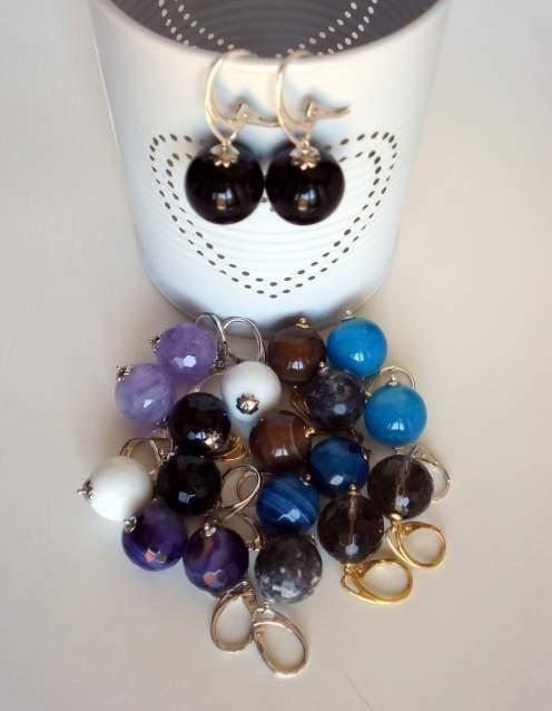 Orecchini argento 925 con sfere pietre dure
