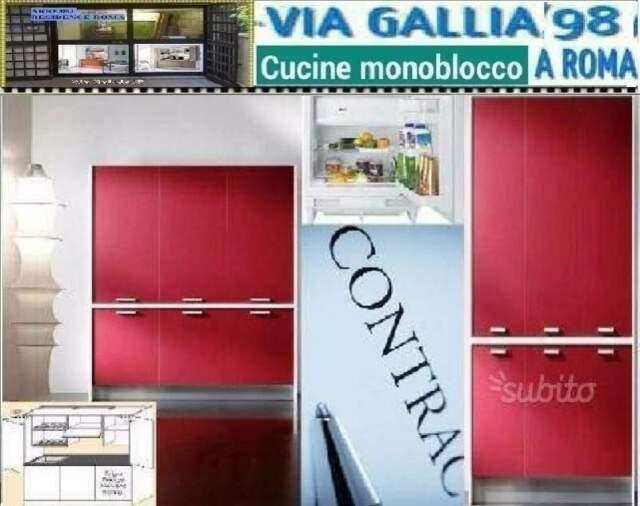 Cucina monoblocco GOLF bianca e rossa 02 FRIGO-CUCINE A ROMA