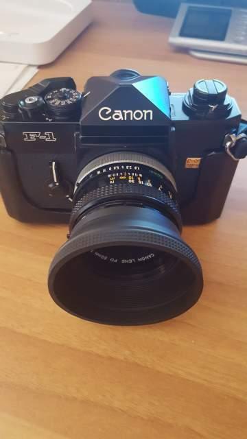 Canon f1 con canon lens fd 50mm f1,8.