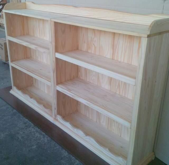 Libreria bassa L200 in legno massello naturale