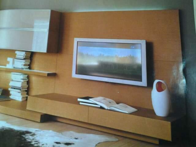 Parete attrezzata in legno teak porta tv soggiorno salotto