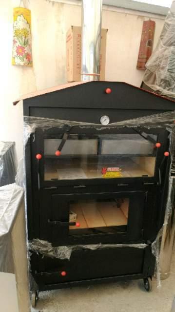 Forno a legna con camera di cottura 90x90x45 inox
