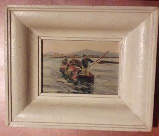 Dipinto d'epoca olio su tela paesaggio con barchino pescat