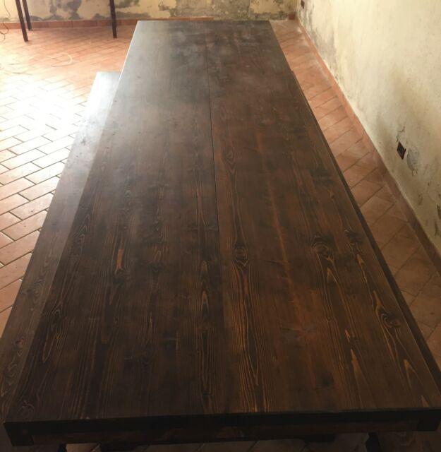 Tavolo Fratino in legno massello con due panche
