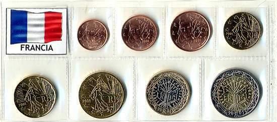 FRANCIA- serie completa di 8 monete in euro FDC- 1 emissione