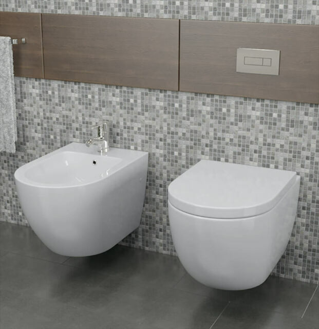 Coppia Di Sanitari Sospesi Wc E Bidet In Ceramica 36x55x33