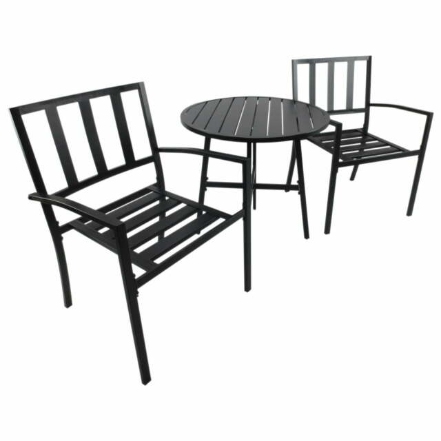 Set Tavolino E 2 Sedie Da Giardino In Metallo Nero Miozzi