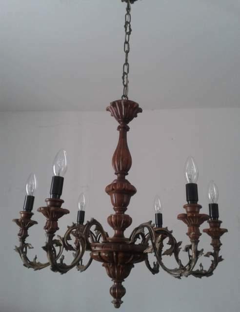 Lampadario a 6 luci in legno