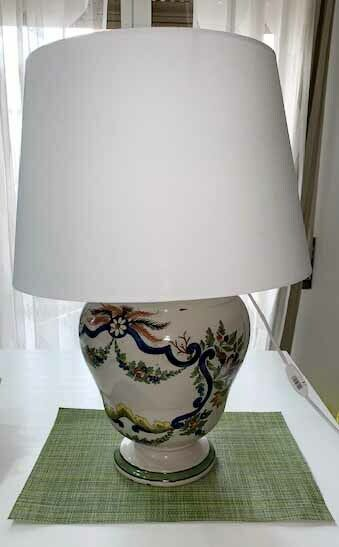 Base lampada antica da tavolo in maiolica