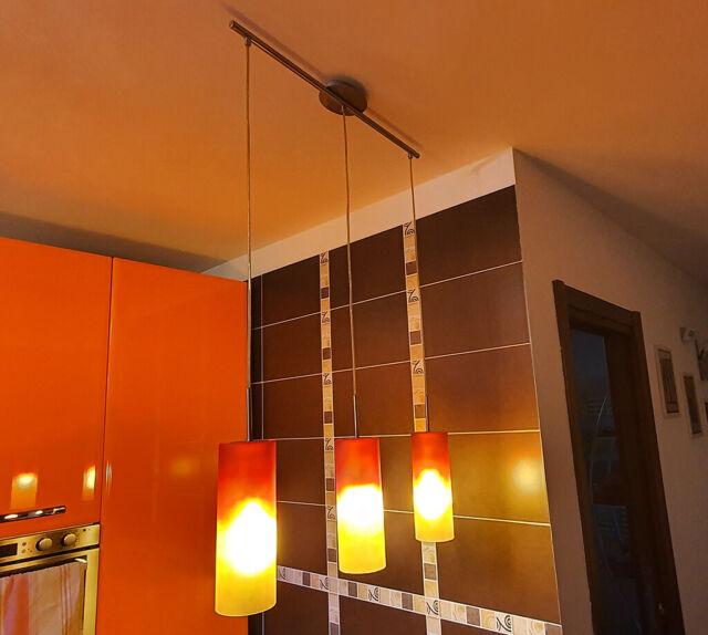 Lampadario con 3 luci pendenti arancione