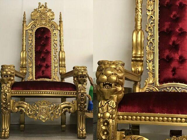 Trono poltrona velluto capitonné sedia in legno massello