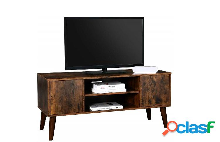 Base Porta Tv in Stile Industriale Vintage con 2 Ante e Vano