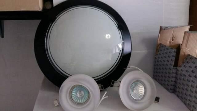 Lampada da soffitto diametro 30cm +Faretti in vetro