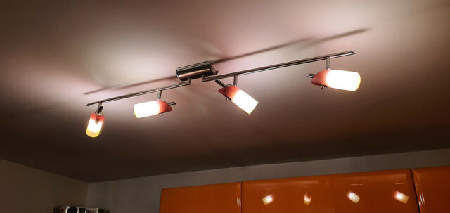 Lampadario da soffitto 4 luci arancione