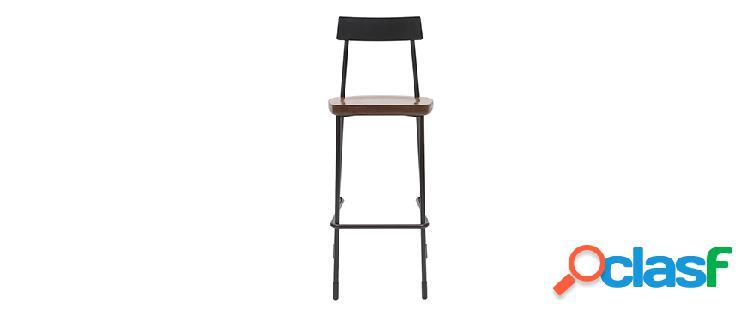 Gruppo di 2 sgabelli da bar industriali metallo e legno nero