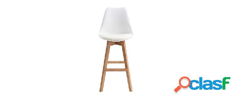 Gruppo di due sgabelli da bar design colore bianco e legno
